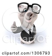 Clipart Of A 3d Bespectacled Happy Business Polar Bear Holding A Thumb Up Royalty Free Illustration