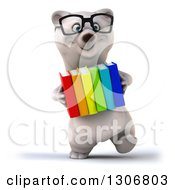 Clipart Of A 3d Bespectacled Polar Bear Walking With Books Royalty Free Illustration