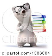 Clipart Of A 3d Happy Bespectacled Polar Bear Holding And Pointing To A Stack Of Books Royalty Free Illustration