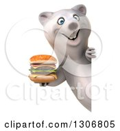 Clipart Of A 3d Happy Polar Bear Holding A Double Cheeseburger Around A Sign Royalty Free Illustration