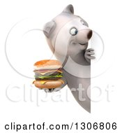 Clipart Of A 3d Happy Polar Bear Holding A Double Cheeseburger And Looking Around A Sign Royalty Free Illustration