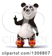 Clipart Of A 3d Happy Panda In Roller Blades Holding Up A Finger Royalty Free Illustration