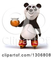 Clipart Of A 3d Happy Panda In Roller Blades Holding A Honey Jar Royalty Free Illustration