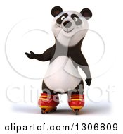 Clipart Of A 3d Happy Panda In Roller Blades And Presenting Royalty Free Illustration