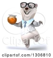 Clipart Of A 3d Happy Bespectacled Polar Bear Doctor Or Veterinarian Jumping With Honey Royalty Free Illustration