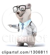 Clipart Of A 3d Happy Bespectacled Polar Bear Doctor Or Veterinarian Pointing To The Left Royalty Free Illustration