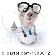 Clipart Of A 3d Happy Bespectacled Polar Bear Doctor Or Veterinarian Holding Up A Thumb Royalty Free Illustration