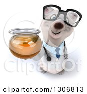 Clipart Of A 3d Happy Bespectacled Polar Bear Doctor Or Veterinarian Holding Up A Honey Jar Royalty Free Illustration