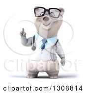 Clipart Of A 3d Happy Bespectacled Polar Bear Doctor Or Veterinarian With An Idea Royalty Free Illustration
