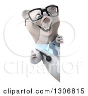Clipart Of A 3d Happy Bespectacled Polar Bear Doctor Or Veterinarian Giving A Thumb Up Around A Sign Royalty Free Illustration