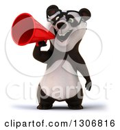 Clipart Of A 3d Happy Bespectacled Panda Announcing With A Megaphone Royalty Free Illustration