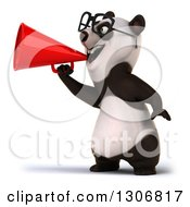 Clipart Of A 3d Happy Bespectacled Panda Facing Left And Announcing With A Megaphone Royalty Free Illustration