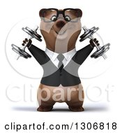 Clipart Of A 3d Happy Bespectacled Brown Business Bear Working Out And Doing Shoulder Presses With Dumbbells Royalty Free Illustration