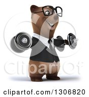 Clipart Of A 3d Happy Bespectacled Brown Business Bear Facing Slightly Right Working Out And Doing Lateral Raises With Dumbbells Royalty Free Illustration