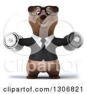 Clipart Of A 3d Happy Bespectacled Brown Business Bear Working Out And Doing Lateral Raises With Dumbbells Royalty Free Illustration