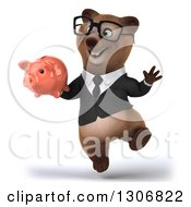 Clipart Of A 3d Happy Bespectacled Brown Business Bear Jumping And Holding A Piggy Bank Royalty Free Illustration