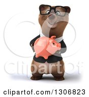 Clipart Of A 3d Happy Bespectacled Brown Business Bear Holding A Pink Piggy Bank Royalty Free Illustration