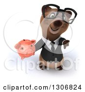 Clipart Of A 3d Happy Bespectacled Brown Business Bear Holding Up A Thumb Down And A Piggy Bank Royalty Free Illustration
