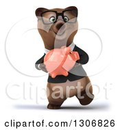 Clipart Of A 3d Happy Bespectacled Brown Business Bear Walking And Holding A Piggy Bank Royalty Free Illustration