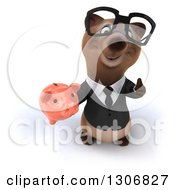 Clipart Of A 3d Happy Bespectacled Brown Business Bear Holding Up A Thumb And A Piggy Bank Royalty Free Illustration