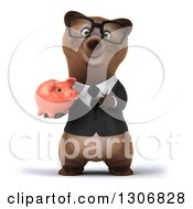 Clipart Of A 3d Happy Bespectacled Brown Business Bear Holding And Pointing To A Piggy Bank Royalty Free Illustration