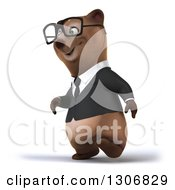 Clipart Of A 3d Happy Bespectacled Brown Business Bear Walking Slightly To The Left Royalty Free Illustration