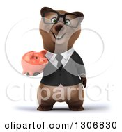 Clipart Of A 3d Happy Bespectacled Brown Business Bear Holding A Piggy Bank Royalty Free Illustration