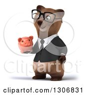 Clipart Of A 3d Happy Bespectacled Brown Business Bear Facing Slightly Left And Holding A Piggy Bank Royalty Free Illustration