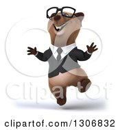 Clipart Of A 3d Happy Bespectacled Brown Business Bear Jumping Royalty Free Illustration
