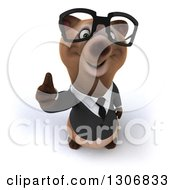 Clipart Of A 3d Happy Bespectacled Brown Business Bear Holding A Thumb Up Royalty Free Illustration