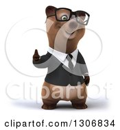 Clipart Of A 3d Happy Bespectacled Brown Business Bear Giving A Thumb Up Royalty Free Illustration
