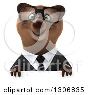 Clipart Of A 3d Happy Bespectacled Brown Business Bear Over A Sign Royalty Free Illustration