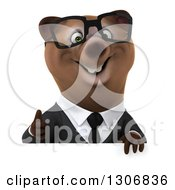 Clipart Of A 3d Happy Bespectacled Brown Business Bear Giving A Thumb Up Over A Sign Royalty Free Illustration