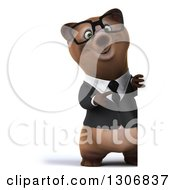 Clipart Of A 3d Happy Bespectacled Brown Business Bear Pointing Around A Sign Royalty Free Illustration