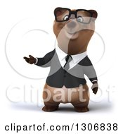 Clipart Of A 3d Happy Bespectacled Brown Business Bear Presenting Royalty Free Illustration