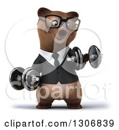 Clipart Of A 3d Happy Bespectacled Brown Business Bear Working Out And Doing Bicep Curls With Dumbbells Royalty Free Illustration