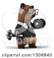 Clipart Of A 3d Happy Bespectacled Brown Business Bear Facing Slightly Right Working Out And Doing Bicep Curls With Dumbbells Royalty Free Illustration