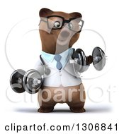Clipart Of A 3d Happy Bespectacled Brown Bear Doctor Or Veterinarian Working Out And Doing Bicep Curls With Dumbbells Royalty Free Illustration