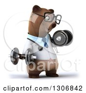 Clipart Of A 3d Happy Bespectacled Brown Bear Doctor Or Veterinarian Facing Slightly Right Working Out And Doing Bicep Curls With Dumbbells Royalty Free Illustration