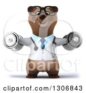 Clipart Of A 3d Happy Bespectacled Brown Bear Doctor Or Veterinarian Working Out And Doing Lateral Raises With Dumbbells Royalty Free Illustration