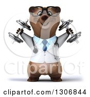 Clipart Of A 3d Happy Bespectacled Brown Bear Doctor Or Veterinarian Working Out And Doing Shoulder Presses With Dumbbells Royalty Free Illustration