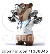 Clipart Of A 3d Happy Bespectacled Brown Bear Doctor Or Veterinarian Facing Slightly Left Working Out And Doing Shoulder Presses With Dumbbells Royalty Free Illustration