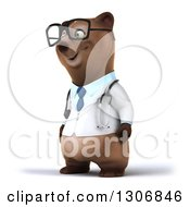 Clipart Of A 3d Happy Bespectacled Brown Bear Doctor Or Veterinarian Facing Slightly Left Royalty Free Illustration