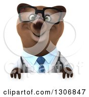 Clipart Of A 3d Happy Bespectacled Brown Bear Doctor Or Veterinarian Over A Sign Royalty Free Illustration