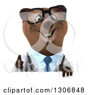 Clipart Of A 3d Happy Bespectacled Brown Bear Doctor Or Veterinarian Giving A Thumb Up Over A Sign Royalty Free Illustration