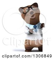Clipart Of A 3d Full Length Happy Bespectacled Brown Bear Doctor Or Veterinarian Pointing Around A Sign Royalty Free Illustration