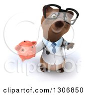 Clipart Of A 3d Happy Bespectacled Brown Bear Doctor Or Veterinarian Holding Up A Thumb Down And A Piggy Bank Royalty Free Illustration