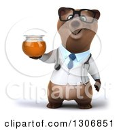 Clipart Of A 3d Happy Bespectacled Brown Bear Doctor Or Veterinarian Holding A Honey Jar Royalty Free Illustration
