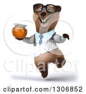 Clipart Of A 3d Happy Bespectacled Brown Bear Doctor Or Veterinarian Jumping And Holding A Honey Jar Royalty Free Illustration
