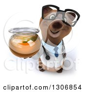 Clipart Of A 3d Happy Bespectacled Brown Bear Doctor Or Veterinarian Holding Up A Honey Jar Royalty Free Illustration